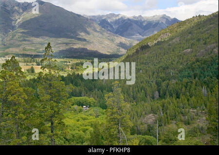 Argentina, Patagonia, mountains and forested hills near El Bolson - Stock Photo