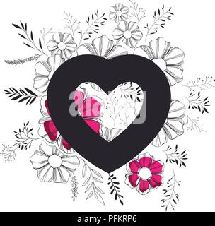 heart love with floral decoration - Stock Photo