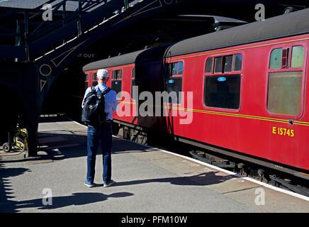 Train at Pickering station, on the North York Moors Railway, North Yorkshire, England UK - Stock Photo