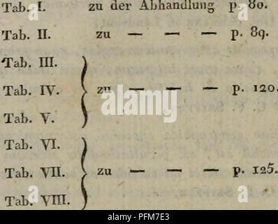 . Denkschriften der Koniglichen Akademie der Wissenschaften zu Munchen. Verzeichnifs der su diesem Bande gehörenden zwölf KupferplattcH. zu der Abhandlung p. 80. zu — — — p. 8q. p. 120. *). Tab. ym. Tab. IX. zu — — »*- p- IJ7. Lab. X. zu — — — p. 279. Tab. XI. zu — — — P- =98- Tab. XII. zu — — — p. 4°9- •, Im Text der Abhandlungen Verden diese drey Hnpferplattcn als Tab. i.a.u.3. an- s-eführt, so wie die folgenden drej als Tab. 4. 5. u. 3. ' Ge-. Please note that these images are extracted from scanned page images that may have been digitally enhanced for readability - coloration and appearanc - Stock Photo
