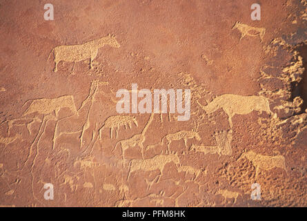 Twyfelfontein, south of Khorixas, has one of the most extensive accumulations of pre-historic rock paintings in Namibia painted by the Damara people 5-6,000 years ago. Predominantly portrayed are lions, giraffes and elephants. May 7th, 1998. - Stock Photo