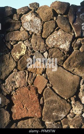 USA, Hawaii, Pu'uhonua O Honaunau National Historical Park, The Great Wall, dry-stone wall, built around, close-up - Stock Photo