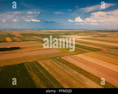 Drone photography of cultivated fields in summer, plain countryside landscape from high angle view - Stock Photo