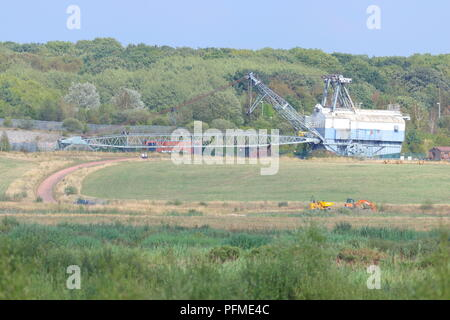 Oddball the Ruston Bucyrus Erie 1150 Walking Dragline which is preserved in it's final resting place at RSPB St Aidan's Nature Park - Stock Photo
