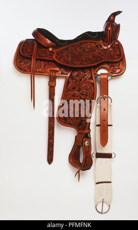 Ornate western saddle - Stock Photo