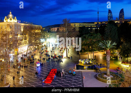 Fountains Square, Baku, Azerbaijan - Stock Photo