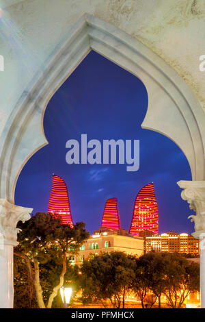 View of the Flame Towers from Little Venice water park , Baku, Azerbaijan - Stock Photo