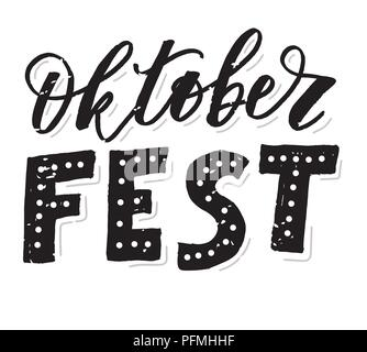 Oktoberfest lettering Calligraphy Brush Text Holiday Vector illustration - Stock Photo