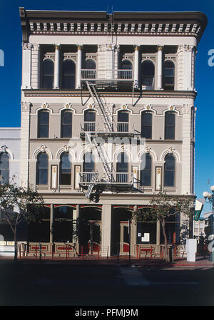 USA, California, San Diego, facade of Old City Hall, built in the late 19th century, front view - Stock Photo