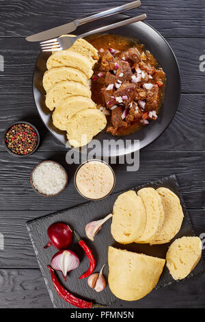 Czech beef goulash served on plate - Stock Photo