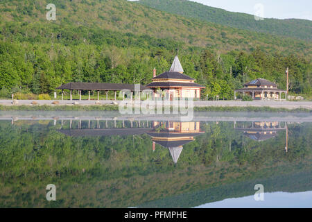 Crawford Train Depot from Saco Lake in Carroll, New Hampshire. - Stock Photo