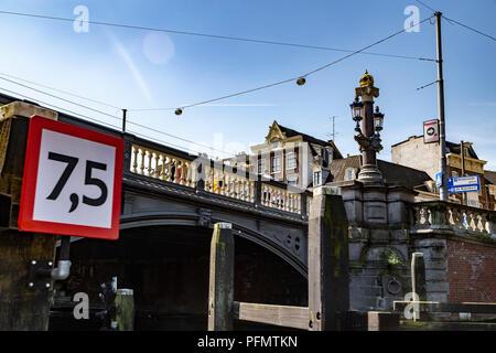 Height limit on a bridge of Amsterdam, Netherlands - Stock Photo