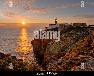 cabo de sao vicente lighthouse at sunset, the Algarve, Portugal - Stock Photo