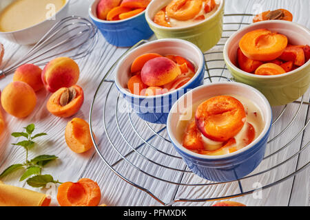 cooking a french dessert clafouti with apricot, ingredients on a table, horizontal view from above - Stock Photo