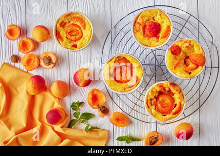 Baked apricot clafoutis placed on the wire rack - Stock Photo
