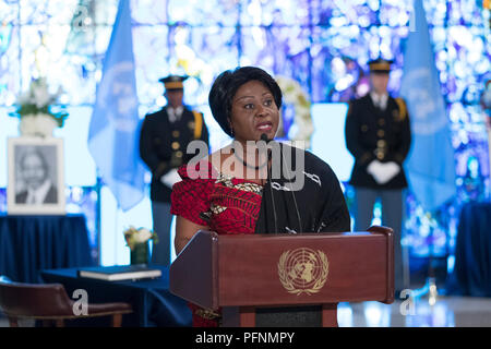 (180822) -- UNITED NATIONS, Aug. 22, 2018 (Xinhua) -- Ghana's Permanent Representative to the United Nations Martha Ama Akyaa Pobee delivers her remarks after signing a book of condolences in memory of the late former Secretary-General Kofi Annan, at the UN headquarters in New York, Aug. 22, 2018. A wreath-laying ceremony was held at UN Headquarters in New York on Wednesday to mourn the death of former UN Secretary-General Kofi Annan. Annan, a Ghanaian diplomat, died on Saturday in Switzerland. He served as UN secretary-general for 10 years till the end of 2006. (Xinhua/Li Muzi)(dh) - Stock Photo