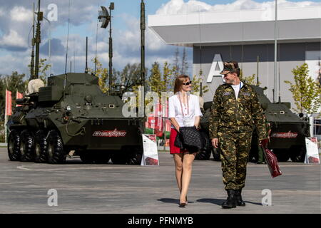Russia. 22nd Aug, 2018. MOSCOW REGION, RUSSIA - AUGUST 22, 2018: Visitors in Patriot Park hosting the Army 2018 International Military and Technical Forum. Sergei Bobylev/TASS Credit: ITAR-TASS News Agency/Alamy Live News - Stock Photo