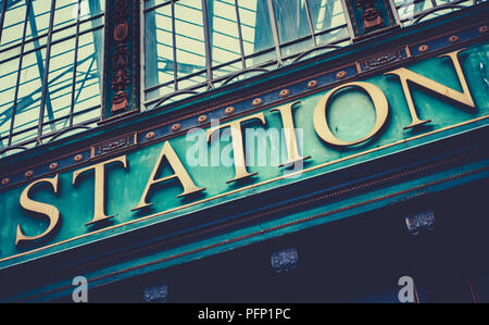 Grungy Sign At A British Railway Station (Glasgow Central Station) - Stock Photo