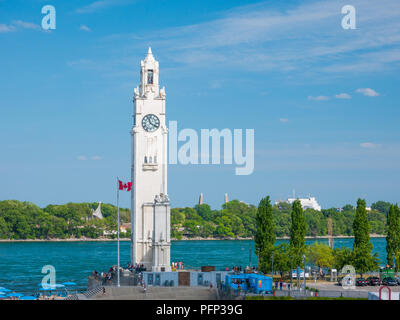 MONTREAL, CANADA - august 19, 2018: Montreal clock tower (Quai de l'Horloge) in Montreal, Canada. It is located at the entrance of the old port of Mon - Stock Photo