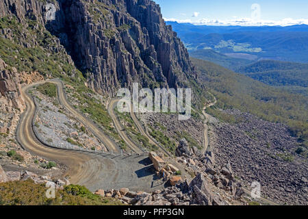The section of road known as Jacobs Ladder, climbing to the ski village of Ben Lomond - Stock Photo