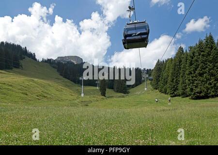cable car, Hoher Ifen near Hirschegg, little Walser valley, Austria - Stock Photo