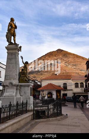 View of Cerro Rico mountain from downtown Potosi, Bolivia - Stock Photo
