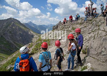 climbing Kanzelwand, Riezlern, little Walser valley, Austria - Stock Photo