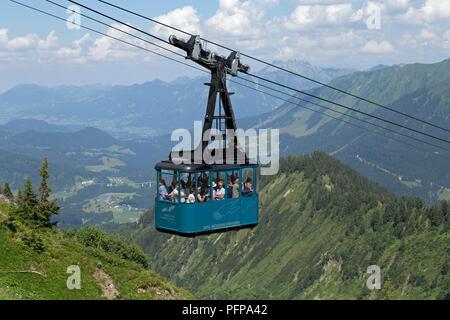 cable car, Walmendinger Horn, Mittelberg, little Walser valley, Austria - Stock Photo