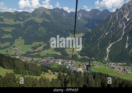 view  of the town from Walmendinger Horn, Mittelberg, little Walser valley, Austria - Stock Photo