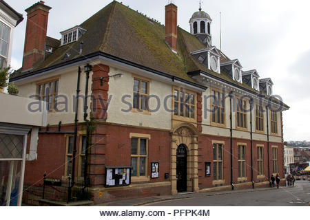 Merchant's House, Marlborough, viewed from Kingsbury Street, looking southwest towards the High Street and market, Wiltshire, England - Stock Photo