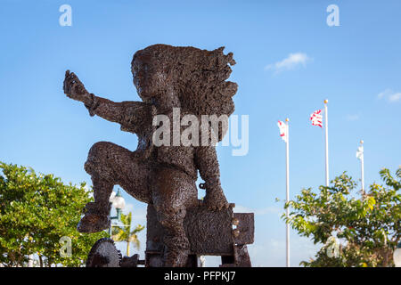 Iron sculpture of person reaching out at memorial Pembroke Pines 911. - Stock Photo