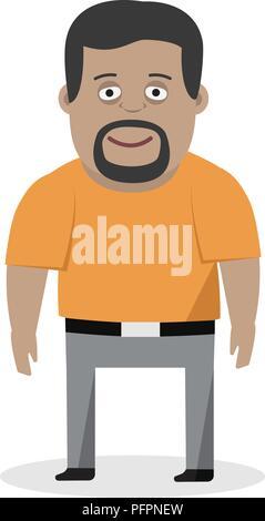 Cartoon illustration of a friendly man in shirt. - Stock Photo
