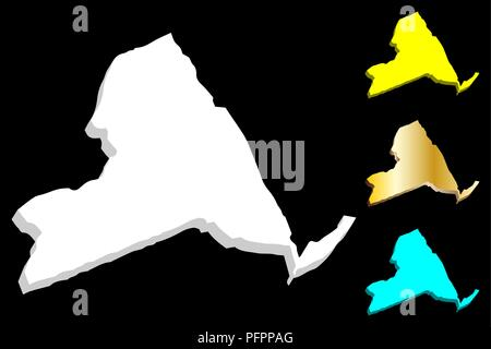3D map of New York (United States of America, The Empire State) - white, yellow, blue and gold - vector illustration - Stock Photo