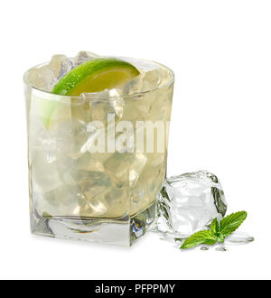 Vodka lime, gimlet, caipirinha or gin tonic with ice in glass on white background - Stock Photo