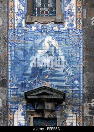 Traditional tiled panel of the old Santo Ildefonso church (early eighteenth century), Porto, Portugal - Stock Photo