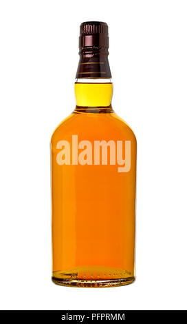 Whiskey in bottle on white background - Stock Photo