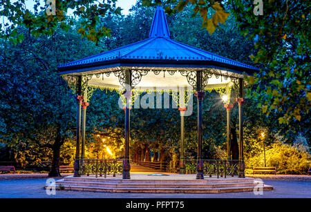 A Victorian Bandstand at Night Battersea Park London UK - Stock Photo