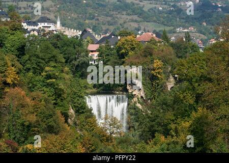 Bosnia and Herzegovina, Jajce, waterfall where the lake Pliva meets the river Vrbas - Stock Photo