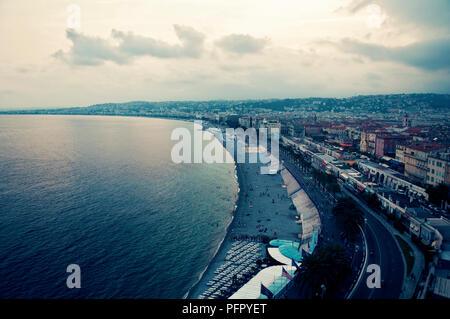 Panoramic View of Beaches, Nice, France - Stock Photo
