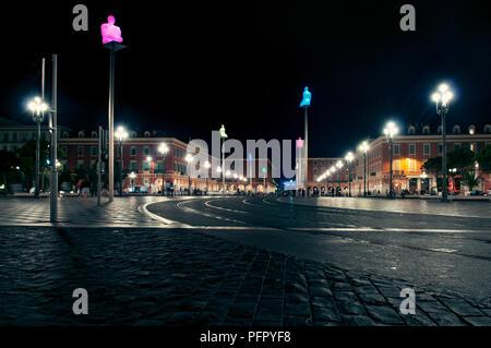 Place Masséna at night, Nice, France - Stock Photo
