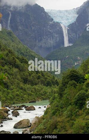 Chile, Patagonia, Queulat National Park, Ventisquero Colgante waterfall, view of the glacier - Stock Photo