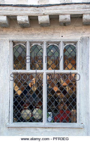 England, Suffolk, Lavenham Guildhall (Guildhall of Corpus Christi), window - Stock Photo