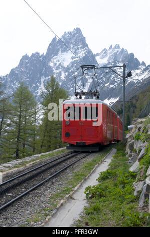 France, Chamonix, Mer de Glace, Train de Montenvers on journey to glacier - Stock Photo