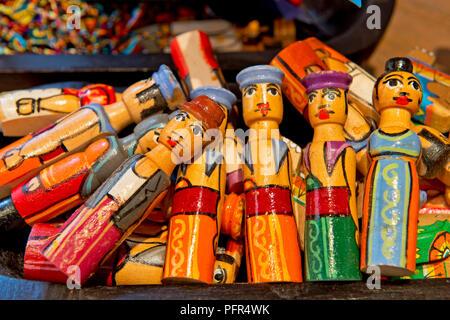 Sri Lanka, Western Province, Colombo, wooden dolls - Stock Photo