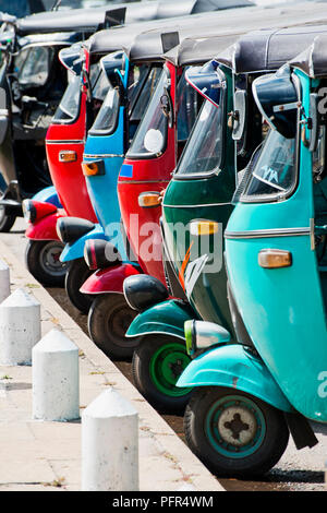 Sri Lanka, Western Province, Colombo, parked colourful rickshaws - Stock Photo