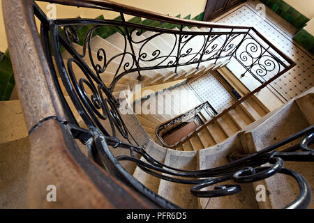 Top view of old-fashioned retro Spiral Staircase - Stock Photo