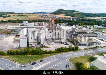 Koblenz GERMANY 21.07.2018 - Quickmix Concrete Batching Plant and construction material factory aerial view. - Stock Photo
