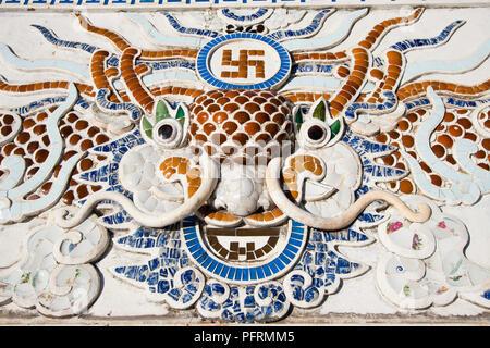 Vietnam, South Central Coast, Nha Trang, Son Long Pagoda, mosaic depicting Buddhist symbols and dragon head - Stock Photo
