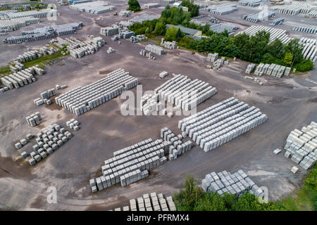 Aerial view of factory for Blocks of concrete stones Building materials industry products for homebuilding construction. - Stock Photo