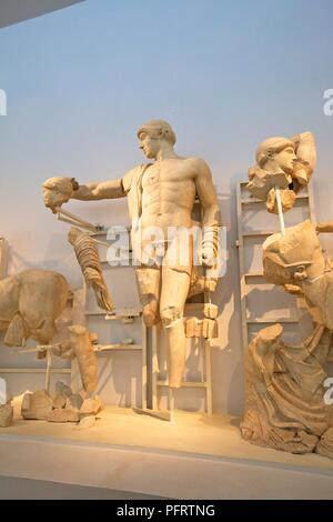 West Pediment of the Temple of Zeus, Olympia, Arcadia, The Peloponnese, Greece, Southern Europe - Stock Photo